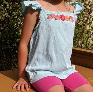 Light Blue Children's Tank Top with Floral Print